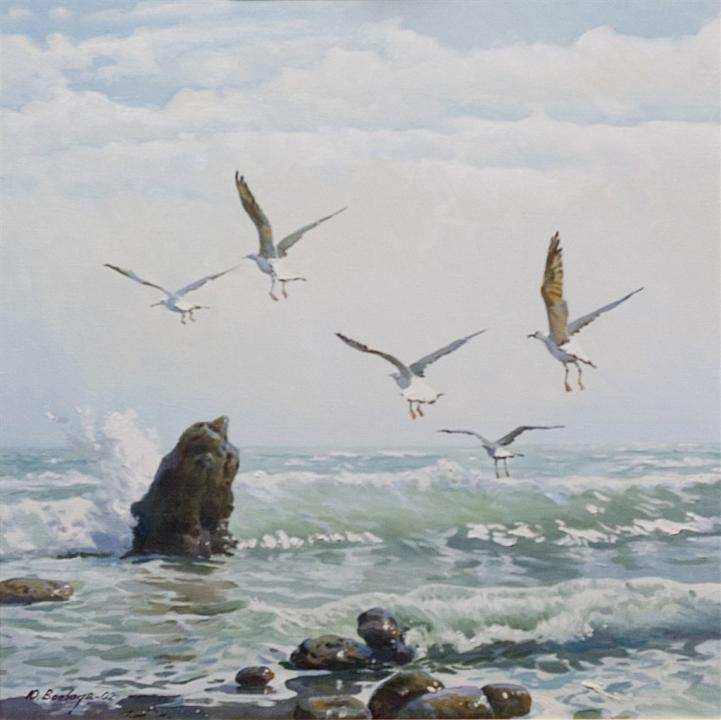 "Картина, марина, реализм, масло: ""Чайки и море / Чайки і море / Seagulls and the Sea"""