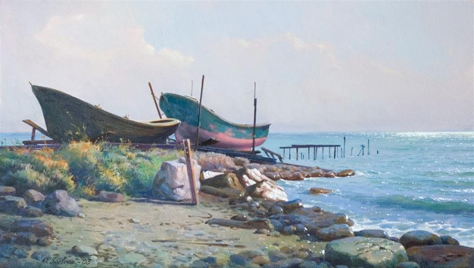 "Картина, марина, реализм, масло: ""Лодки на берегу / Човни на березі / Boats on the Shore"""