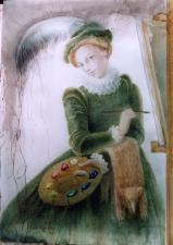 Лючия Ангишола с блохоловкой у мольберта