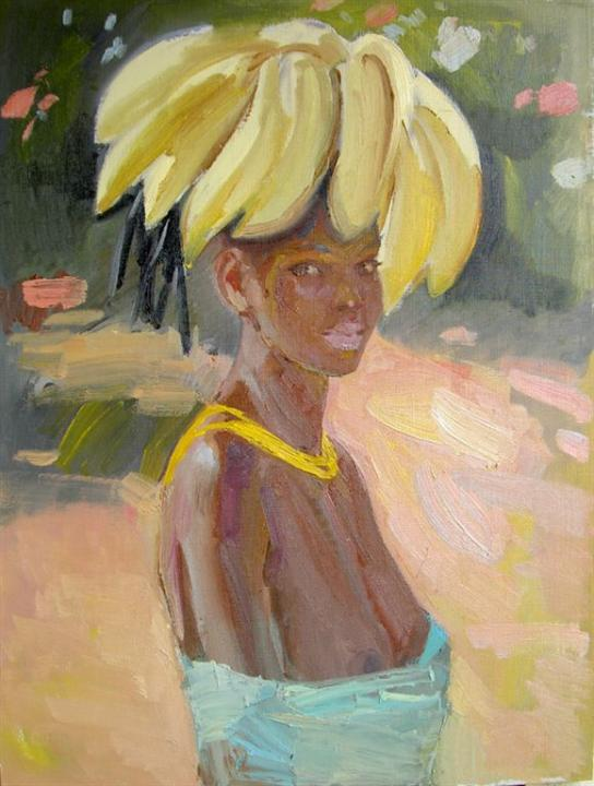 "Схема вышивки  ""Африканка с бананами "": комментарии."