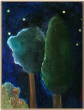 "Картина, пейзаж, масло: ""Ночь. Кипарис с другом / Night. A Cypress and his Friend"""